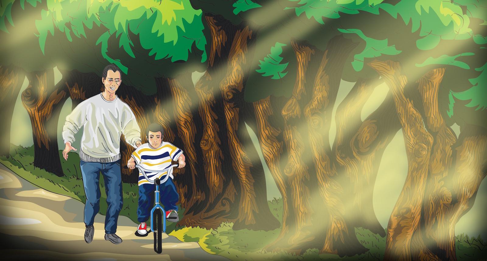 Pai e filho a andar de bicicleta